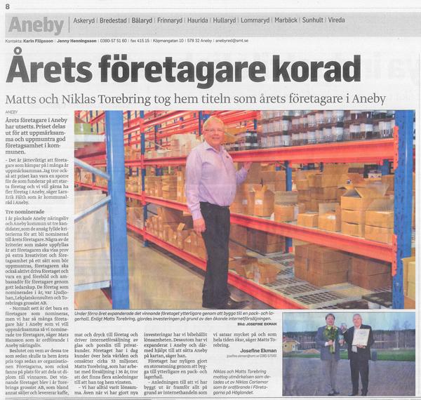 Årets Företagare 2012 Aneby Kommun Torebrings Grossist AB