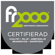 Logo FR2000 Kvalitets-, Miljö- och Arbetsmiljöcertifierad.