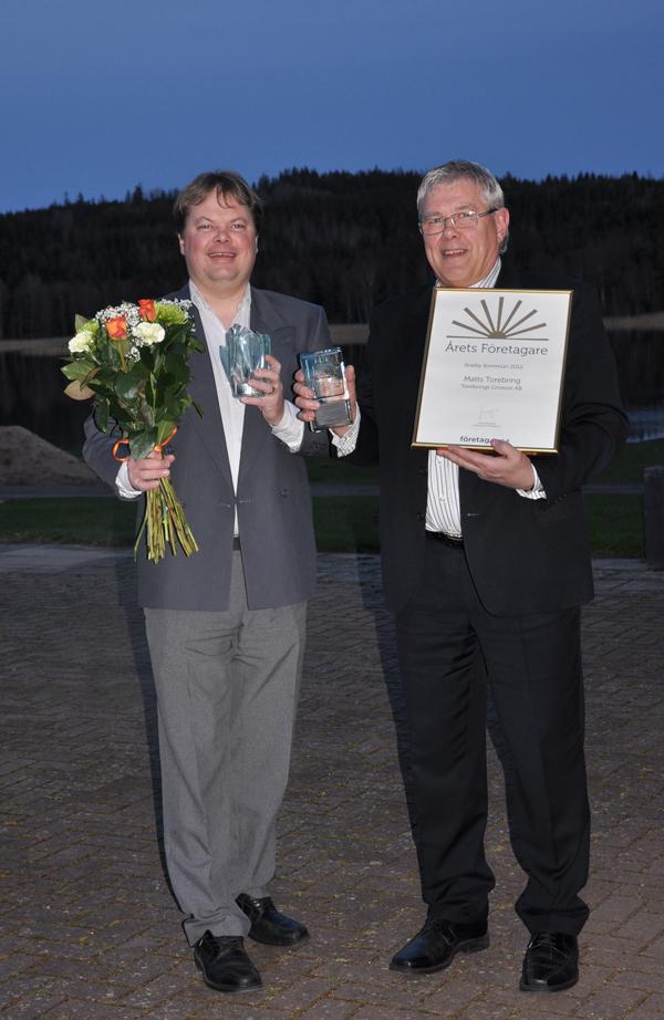 Stolta vinnare av Årets Företagare 2012 Aneby Kommun Matts & Niklas Torebring