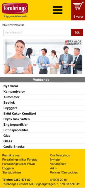 Mobil hemsida huvudgrupper Torebrings Grossist AB